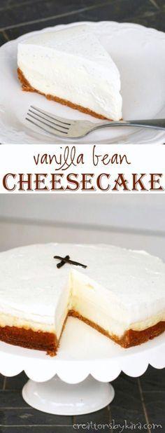 Copycat Cheesecake Factory Vanilla Bean Cheesecake - creamy cheesecake with vanilla bean mousse and whipped cream. A decadent cheesecake recipe! #cheesecake #copycatrecipe #vanillabean