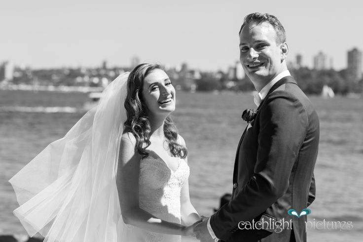 """Nicole & Karl, moments after their """"first look"""" at Bradley's Head amphitheatre, Mosman. Stunning city views and loads of emotion - loved every second with this couple on Saturday"""