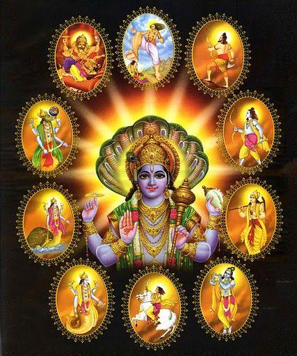 Dasavatara - The 10 Avatars of Vishnu  (via sravanam.org)