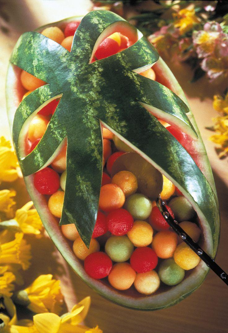 Lovely Carved Watermelon Ribbon Fruit Basket
