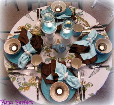 """Plum Perfect: A """"Tweet"""" Tablescape with Turquoise & Chocolate"""