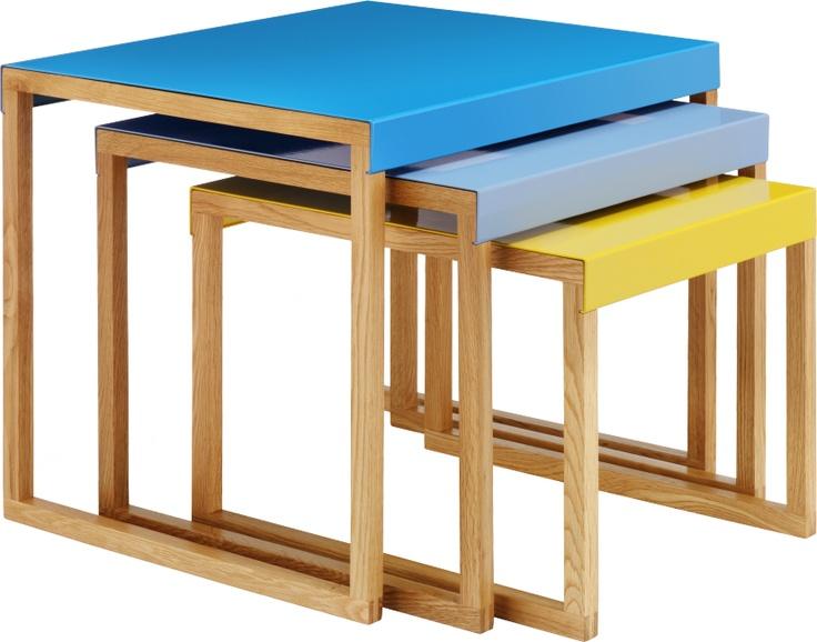KILO tables d'appoint gigognes en métal et chêne massif - Habitat