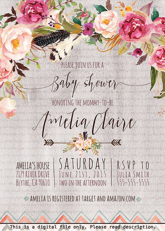 CLICK HERE: https://www.etsy.com/listing/246867623/boho-baby-shower-invitation-rustic? Boho Baby Shower Invitation for Girls, Watercolor Flowers, Arrow Baby Shower, Hipster, Bohemian, Vintage Flowers, Fall Colors