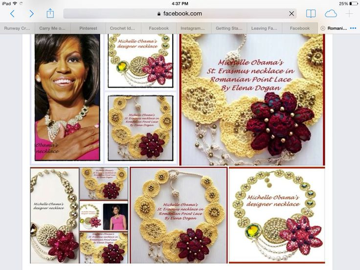 My original, Romanian Point Lace Replica of the First Lady's St. Erasmus' necklace...Dedication to Ms. Obama on Mother's Day...