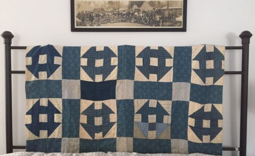 Antique-Indigo-Blue-amp-White-Calico-Quilt-Coverlet-Rustic-Camp-Blanket-C-1880s