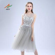 ΑΝΤΙ Luxury 2017 Robe De φορέματα κοκτέιλ μανίκια Τούλι Για γαμήλιο γλέντι κρύσταλλο Σύντομη Vestidos De Coctel Κόμμα Νύφη Νυφικά (Κίνα (ηπειρωτική χώρα))