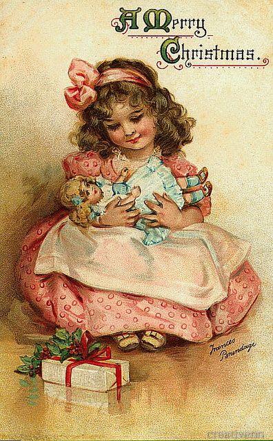 Рождественские и новогодние старинные открытки с изображением детей. Часть 2.: На крыльях вдохновения.