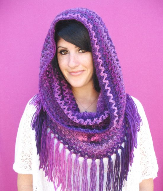 Fringed Hooded Cowl Crochet Pattern Free on our site