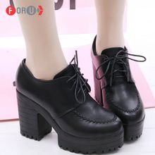 Женские туфли на высоком каблуке новый 2016 женщин туфли на высоких каблуках одной толстый каблук на платформе черные туфли на высоком каблуке ForU(China (Mainland))