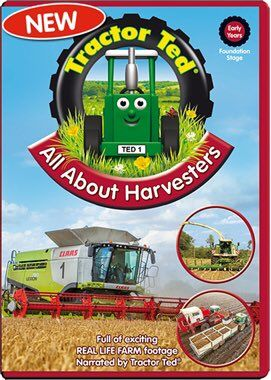 March 18, 2016: All About Harvesters DVD - Tractor Ted shows us lots huge harvesters and we get to see the amazing work that they do harvesting food for us and for the farm animals. Farmer Tom is busy on the farm getting in the maize.  Luckily the children are there to save the farmer before he loses the grain from his combine!  There are lots of great harvesters to watch as they harvest crops from sugar beet to peas, potatoes and wheat. (Running Time: 40 minutes plus 5 minutes of extra…