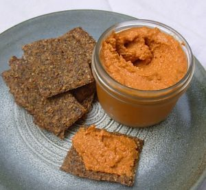 Korözött | Paprika Cheese Spread is a Hungarian food recipe from cottage and cream cheeses.  Ingredients        12-oz. cottage cheese      8-oz. whipped cream cheese      ¼ c. onion, minced      2 tbsp. sour cream      1 tbsp. paprika      2 tsp. caraway seeds      ¼ tsp. dry mustard, or 1 tsp. plain mustard      1 clove garlic, minced or pressed      1 to 2 tbsp. minced fresh chives