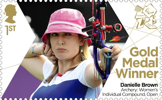 Paralympics Gold Medal Winner stamp - Archery: Women's Individual Compound, Open, Danielle Brown.