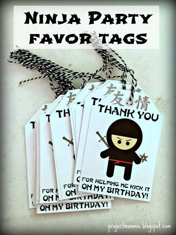 PDF: Ninja Cute but Fierce Party Favor Tags 2 3/4 by luminousmoon