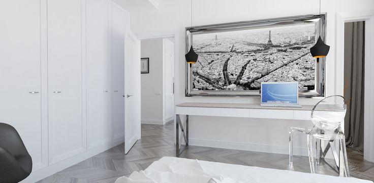 Elegancka sypialnia. Minimalistyczne wnętrze z subtelnymi klasycznymi akcentami. Jasne wnętrza. Drewniana podłoga. Miejsce do pracy.  Więcej na: http://tryc.pl/