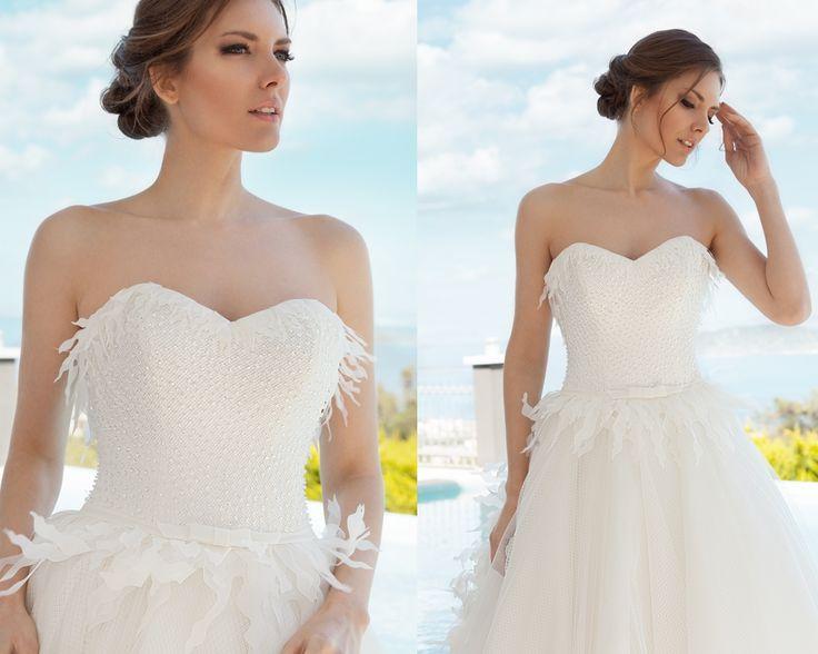 straplez, askısız gelinlik modelleri 2016-taş işlemeli straplez gelinlikler-nova bella nişantaşı