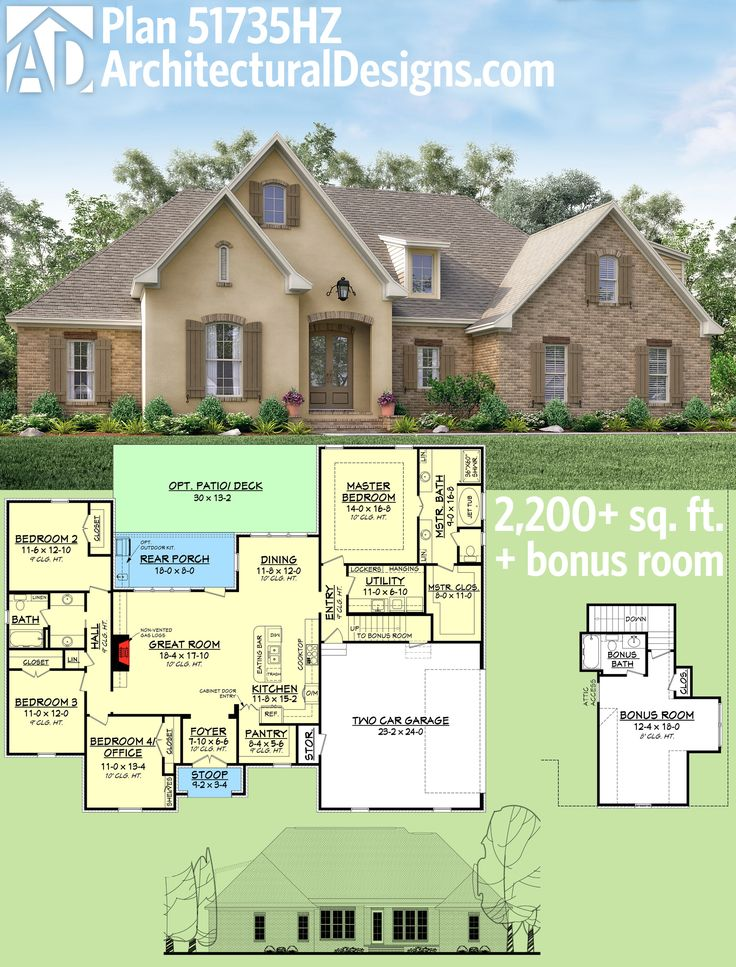 Plan 51735hz flexible southern home plan with bonus room for One story house plans with bonus room above garage