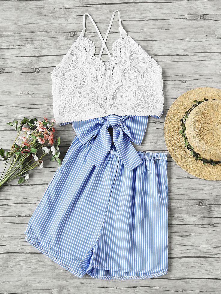 Shop Lace Panel Criss Cross Bow Tie Back Cami Top With Stripe Shorts online. SheIn offers Lace Panel Criss Cross Bow Tie Back Cami Top With Stripe Shorts & more to fit your fashionable needs.