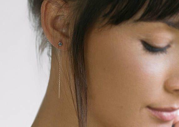 Minimalist earrings Dainty earrings Threader earrings Ear