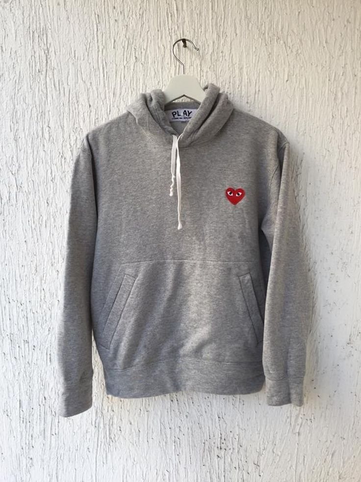 Comme Des Garcons Play GREY PULLOVER HOODY Size s - Sweatshirts & Hoodies for Sale - Grailed