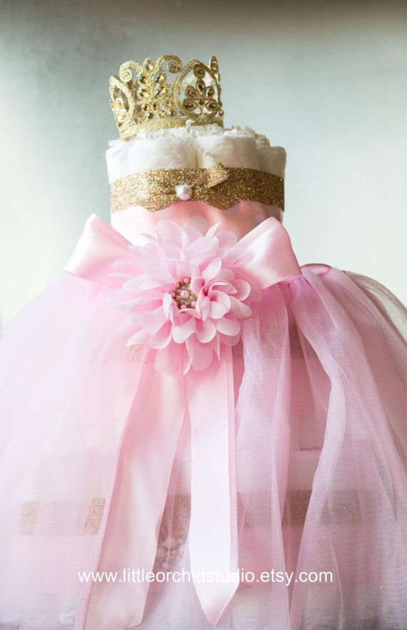 this unique pink and gold princess tutu diaper cake will make a perfect addition to baby oro babyshowerbabyshower