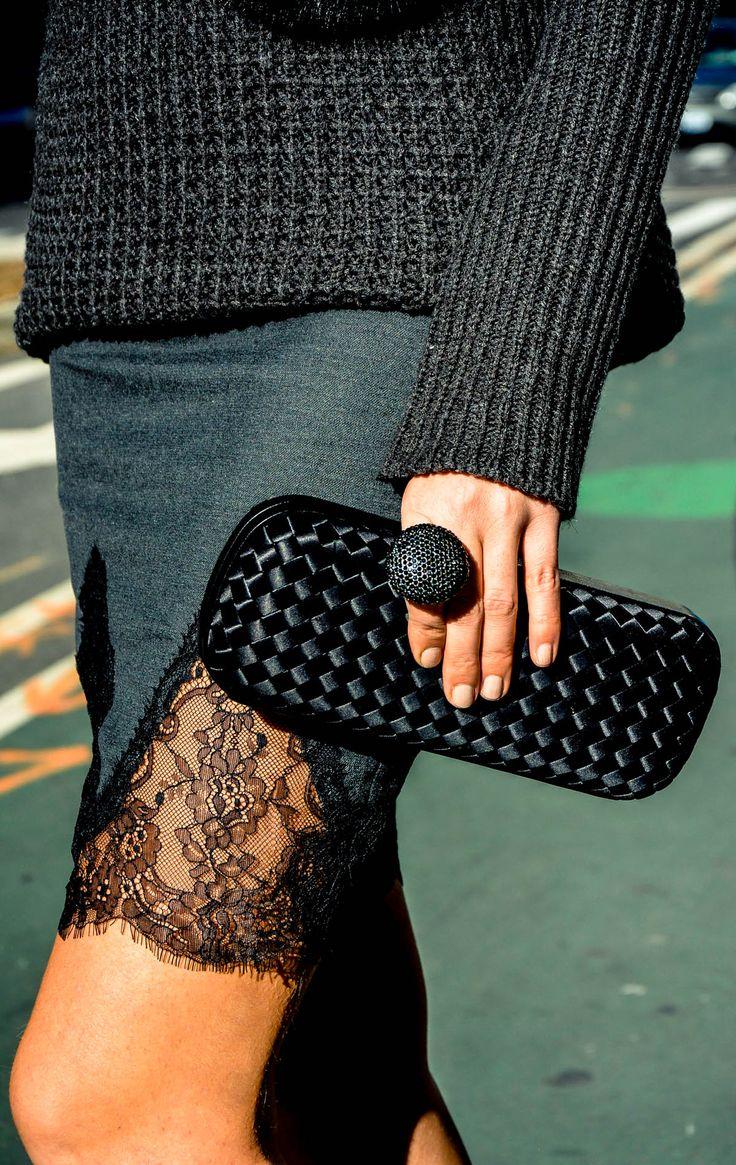 sweater:  RD Style,  Clutch:  Bottega Veneta, mini skirt:  Zara