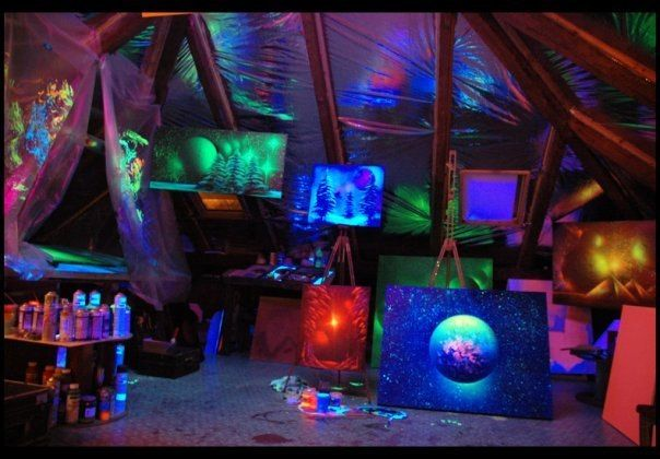 Studio in the attic of luminous paintings