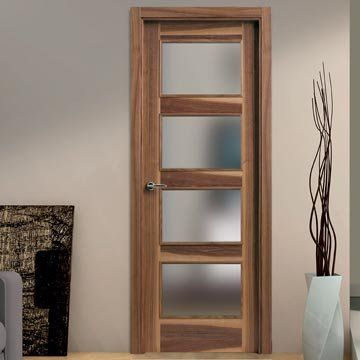 Beautiful prefinished SanRafael Lisa L60VA4 Prefinished Grained Walnut veneered glazed fire door.