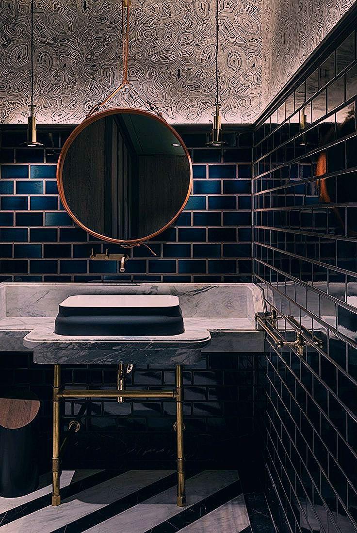 Kleines Badezimmer Gastebad Waschtisch Dunkles Badezimmer Badezimmer Ideen Badezimmer Schwarz Mit Bildern Dunkle Badezimmer Badezimmer Schwarz Kleine Badezimmer