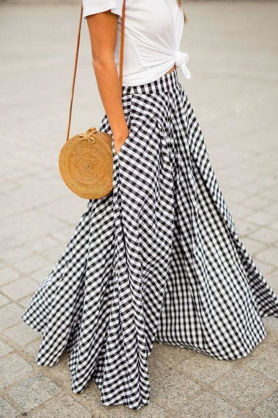 Gingham Maxi Skirt #skirtoutfits