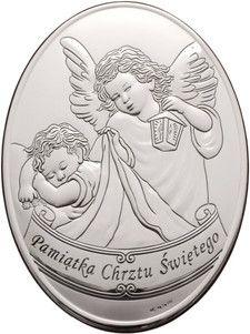 Srebrny obrazek Anioł Stróż z latarenką, piękny prezent dla dziecka z okazji Chrztu. #chrzciny #chrzest #pamiatka