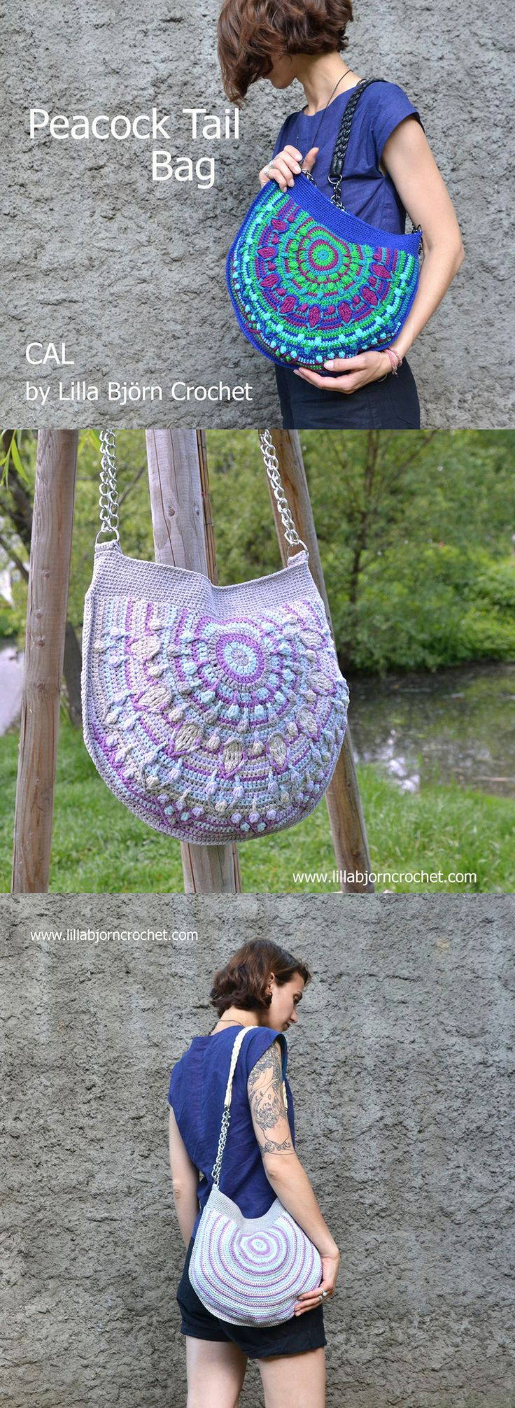 Peacock Tail Bag is a new CAL in overlay crochet. It is FREE and consists of 6 parts + tutorial about how to sew fabric lining. Each part will be published on my blog. And first tutorial will be released on Wednesday, August 17, 2016. Check the details here: http://www.lillabjorncrochet.com/2016/08/peacock-tail-bag-cal-general-information.html #PeacockTailBagCAL