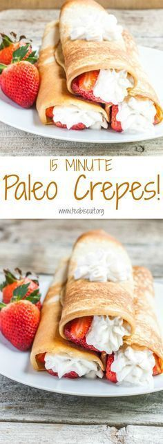 Grain Free Crepes - So fast and easy, make Paleo crepes in less than 15 Minutes! A Delicious Paelo Dessert made from scratch. Optional Coconut whipped cream recipe included!| Paleo | Grain Free | Gluten Free