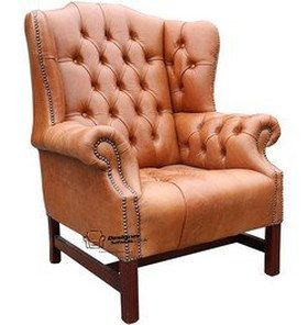 tan churchill high back wing chair