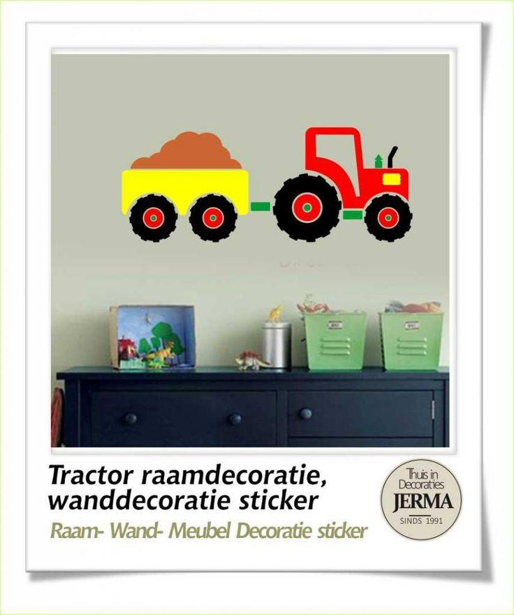 Tractor met aanhangwagen, raamdecoratie muurdecoratie sticker. Gebruik ...