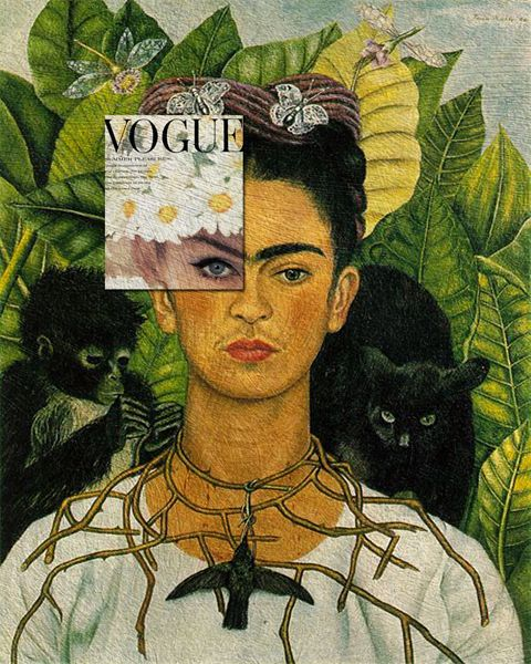 Frida's Pleasure Jean Shrimpton, Vogue June 1962 + Self-portrait with Thorn Necklace and Hummingbird by Frida Kahlo