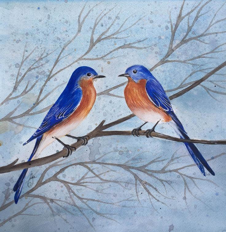 A personal favorite from my Etsy shop https://www.etsy.com/listing/462957256/love-birds-in-winter