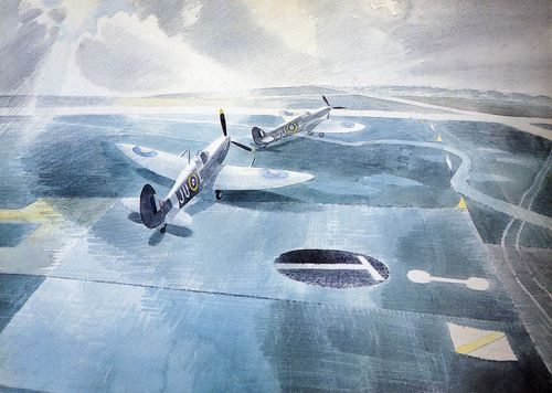 Eric Ravilious: Spitfires on a Camouflaged Runway, 1942
