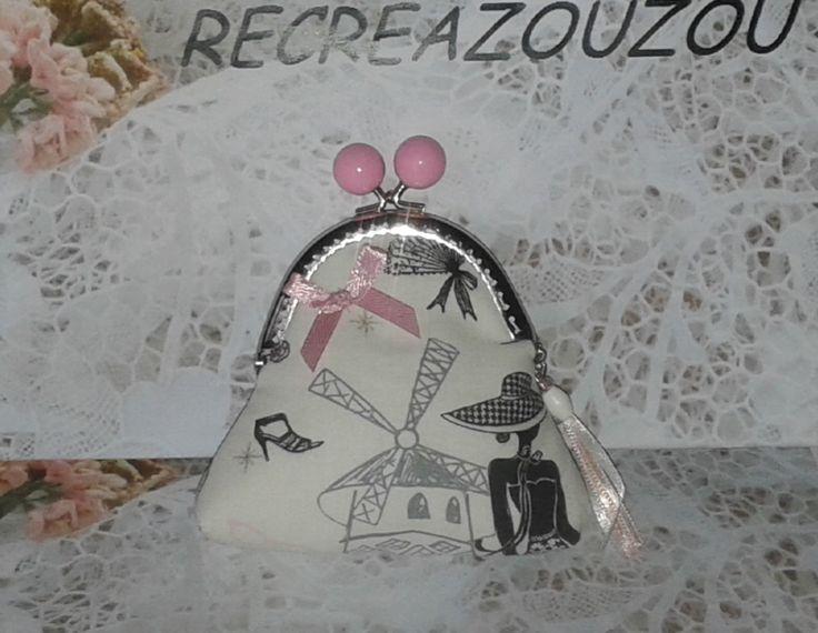 porte monnaie avec fermoir argenté et boules roses, tissu Paris : Porte-monnaie, portefeuilles par recreazouzou