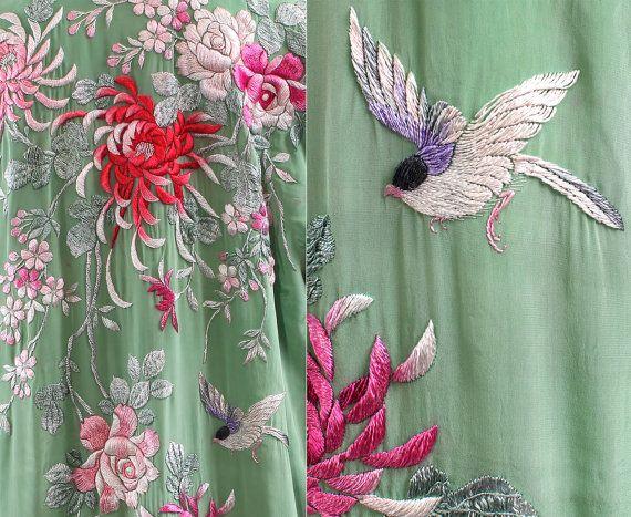 1920s Silk Kimono Robe / Embroidered Silk Kimono by BetaBoutique, $240.00