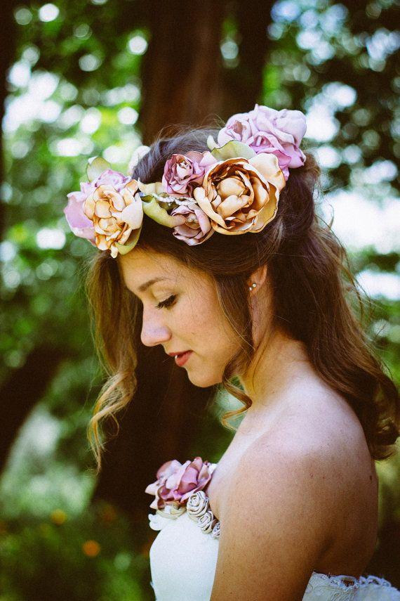 Corona di fiori da sposa corona nuziale, velo da sposa, sposa Halo, corona di fiori rosa, pezzo di capelli da sposa, fiore ragazza corona, Boho velo, velo nei boschi