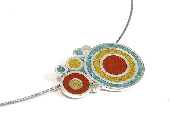 Sterling Silver  Pendant - Colorful Bubbles -  Circles Turquoise Maroon Red Yellow Mustard