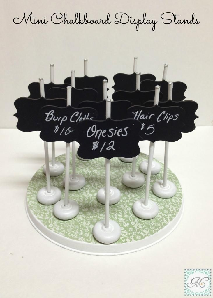 Mini Chalkboard Display Stands (wood pieces - covered in chalkboard spray paint - are from Pick Your Plum