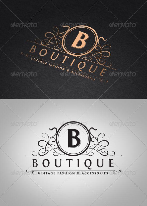 Vintage Boutique Logo Template,vintage logo,crest logo,b logo design