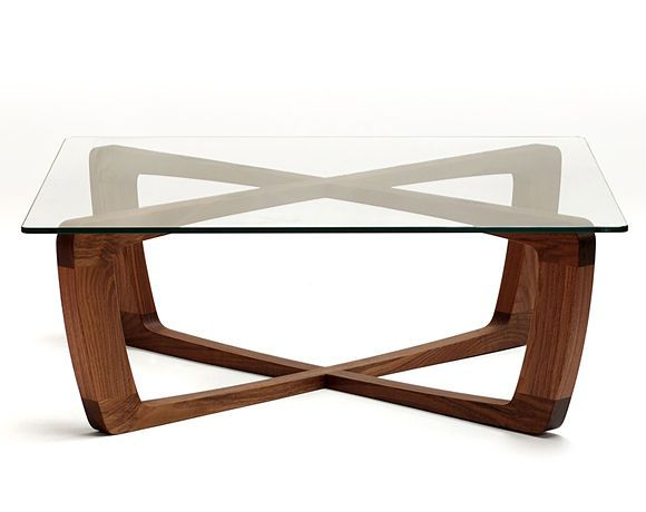 Table basse contemporaine en verre (pied en bois) - KUSTOM - bark