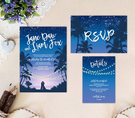 Destination wedding invitations | Tropical beach wedding cards | Purple and blue wedding | Cheap wedding packs: invitation, RSVP, info card