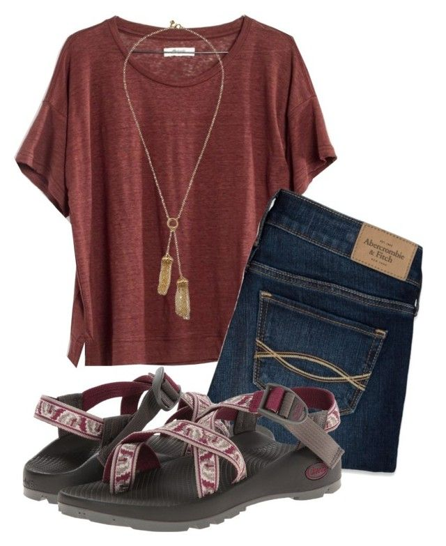 """""""Fall football game"""" by miss-southern-girl ❤ liked on Polyvore featuring Madewell, Rebecca Minkoff, Abercrombie & Fitch and Chaco"""