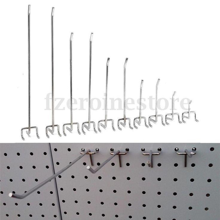 1/5/10/20x Lochwandhaken Metall Haken Hakenset Einfachhaken für Lochwand 8 Größe