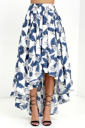 Tropical Getaway Blue and Ivory Floral Print High-Low Skirt at Lulus.com!