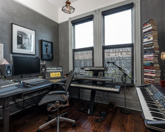 Inspiring Home Recording Studio Design: Home Recording Studio Design With  Hardwood Floor And Double Windows Also Dark Grey Wall ~ Dropddesign.com Du2026  ...