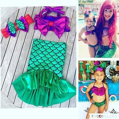 Costume sirène enfant 3pcs   #bikini #enfant Queue de sirène
